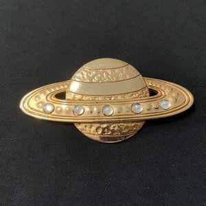 Vintage Signed JJ 1970's Saturn Planet Brooch